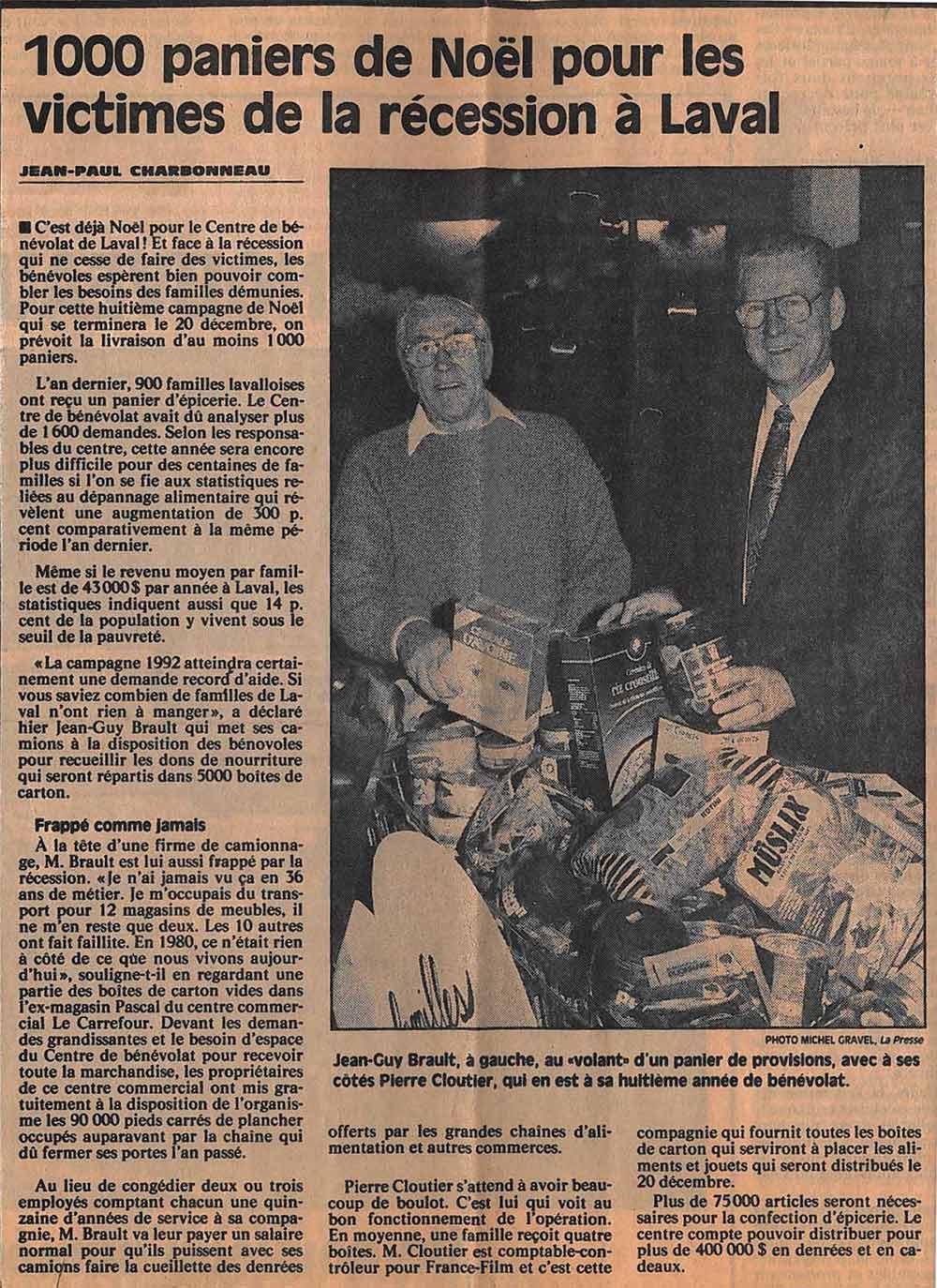 Brault Déménagement - Article de La Presse, 1992