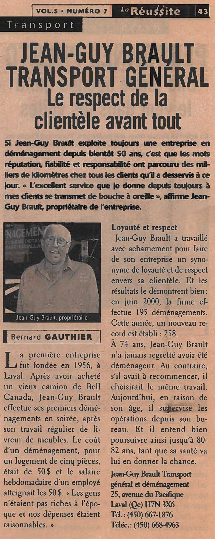Brault Déménagement, article dans La Réussite, 2000