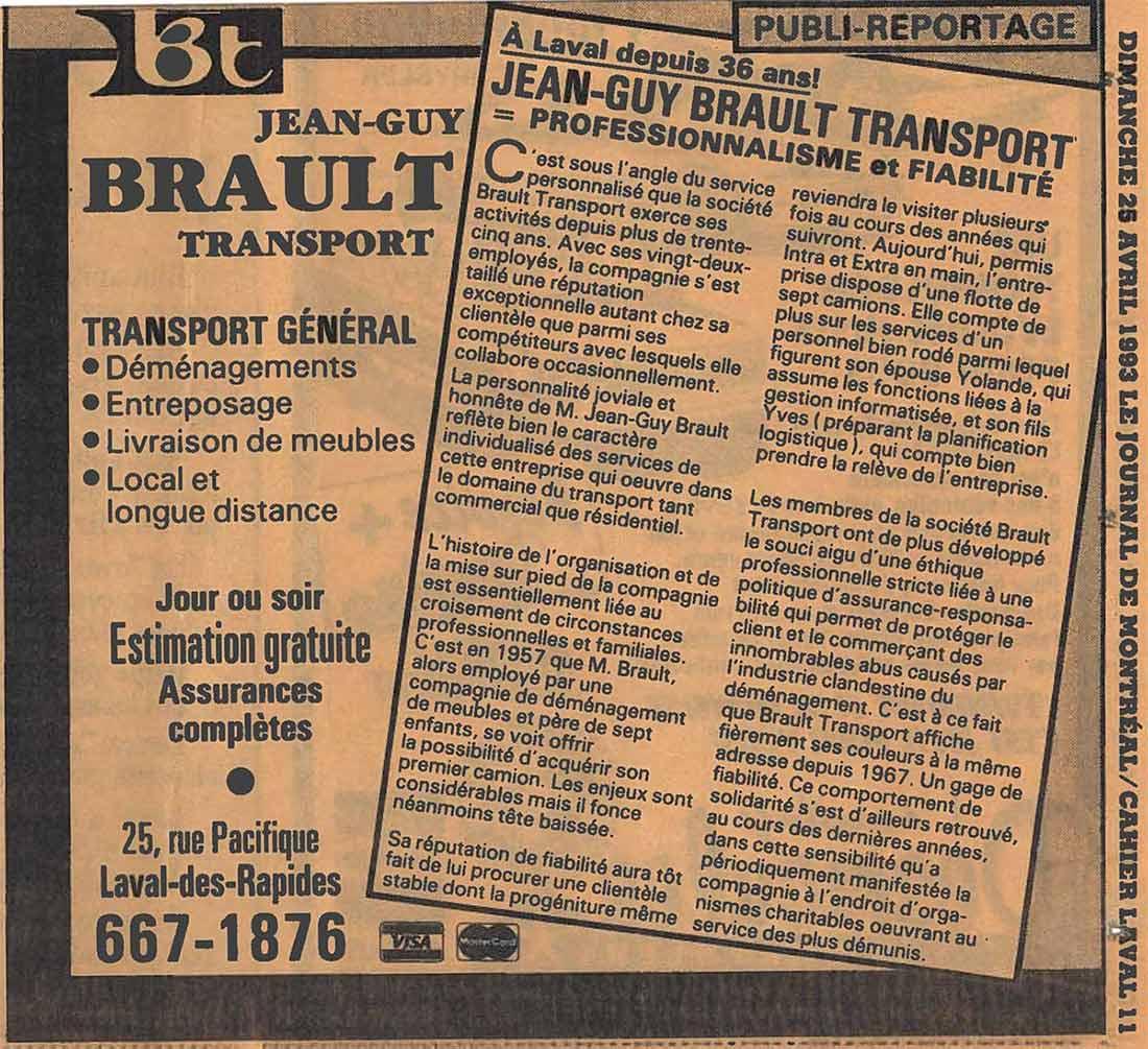 Brault Déménagement, article dans Le Journal de Montréal, 1993